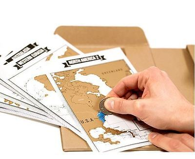Travel Size Scratch Map Diary Notebook + 8 Pieces of Map Size 6.6*8.6 Inch