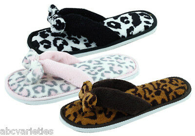 New Women's Fashion Terry Spa Thong Flipflop House Slippers with Bow