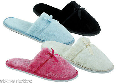 New Women's Fashion Terry Spa Close-Toe Slide House Slippers with Satin Bow