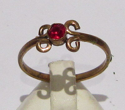 VINTAGE NICE BRONZE RING WITH RED STONE FROM THE EARLY 20th CENTURY # 967