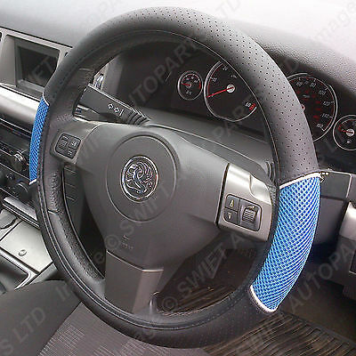 STEERING WHEEL COVER / GLOVE Black Leather Look / Blue Mesh, Fits most Vauxhalls