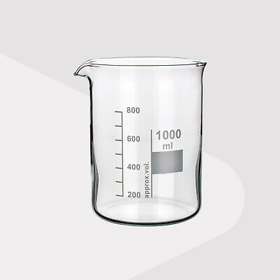 Borosilicate Glass Beakers, Low Form, 1000ml (Pack of 2)