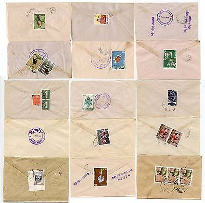 NEPAL 1976-8 INTERNAL...15 Covers... Range of Handstamps and frankings
