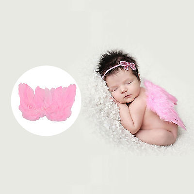 New Baby Pink Angel Wings Feather Kids Newborn Infant Fairy Party Costume Photos