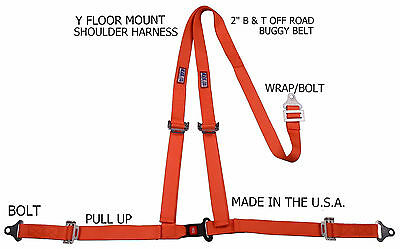 "Rjs Racing 2"" Buggy Off Road Seat Belt 3 Point B&t Y Harness Orange 4000505"