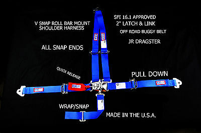Rjs Racing 4Pt Latch & Link V Roll Bar Harness Jr Dragster Blu 30295-04-06-Cse-3