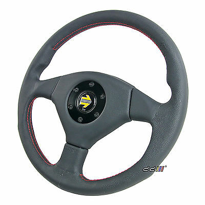 NEW 365mm MOMO Style Black PU Leather Racing Steering Wheel w/ MOMO Horn Button