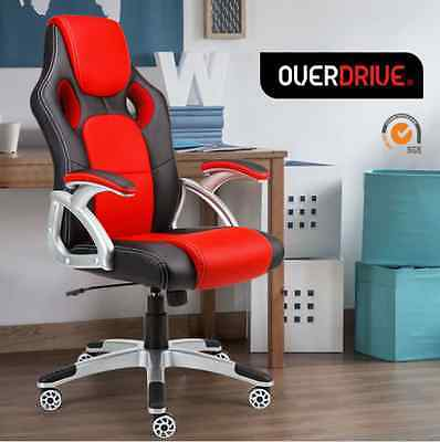 PU Leather Deluxe Executive Office Chair- Seat Executive Computer Gaming RED