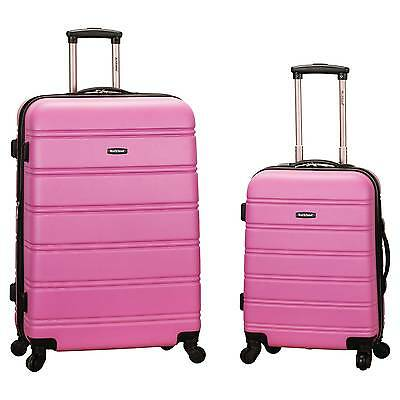 Rockland Melbourne 2pc Expandable ABSSpinner Luggage Set - Pink