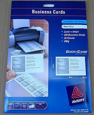AVERY BUSINESS CARDS C32011 Laser + inkjet Smooth Edge 200gsm 25 Sheets 250Cards
