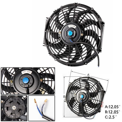 12 inch 12V PULL/PUSH SILM  RADIATOR ELECTRIC THERMO FAN + MOUNTING KITS