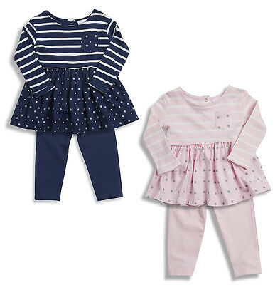 Girls Outfit Leggings Smock Top Set Navy Or Pink 0-3 Months To 5-6 Years