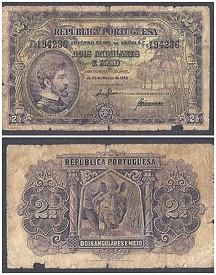 Angola 2 1/2 Angolares 1942 in (G-VG) Condition Banknote P.69