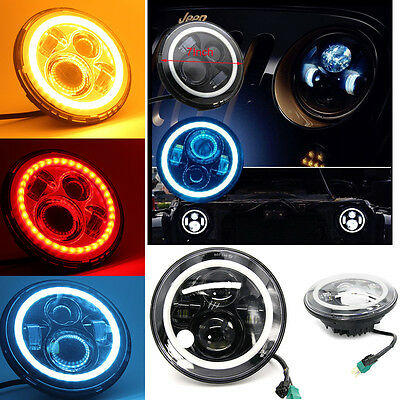 7''inch LED Headlight Lamp with Halo Angel Eye Fits Jeep 97-15 Wrangler JK LJ TJ