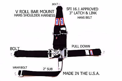 Rjs Racing Sfi 16.1 5Pt Hans Latch & Link V Roll Bar Mount Belt Blk 50502-16H-06