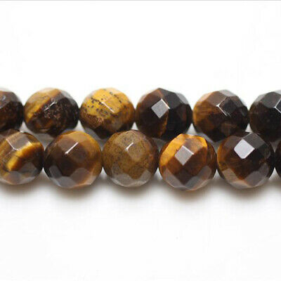 Strand Of 45+ Yellow/Brown Tiger Eye 8mm Faceted Round Beads GS5462-2