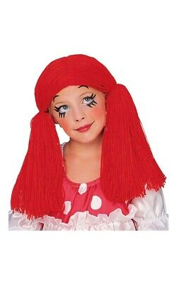 Rag Doll Raggedy Ann Red Child Wig Halloween Costume Accessory