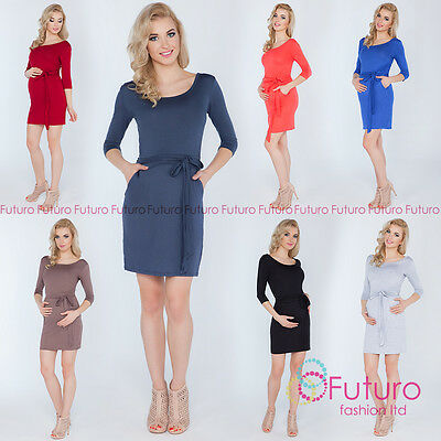 Ladies Maternity Tied Mini Dress With Pockets Party 3/4 Sleeve Sizes 8-14 8197