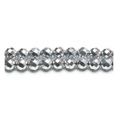 62+ Bright Silver Hematite (Non Magnetic) 6mm Faceted Round Beads GS15392-3