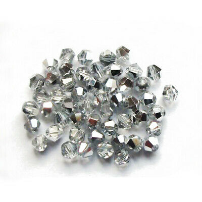 Czech Crystal Glass Faceted Bicone Beads 3mm Silver/Clear 100+ Pcs DIY Jewellery