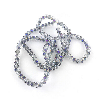 90+  Purple/Clear Czech Crystal Glass 3 x 4mm Faceted Rondelle Beads GC9596-1
