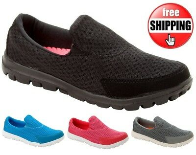 New Womens Ladies Slip On Lightweight Pumps Gym Running Trainers Pumps Shoes Sz