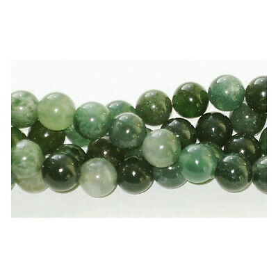 Strand Of 45+ Green Moss Agate 8mm Plain Round Beads GS1646-3