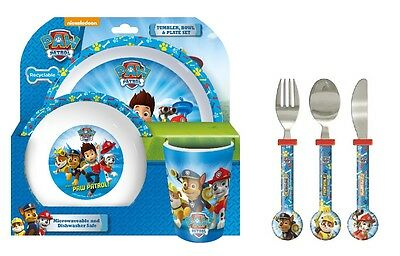 Paw Patrol | Chase | Marshall 6pc Tumbler, Bowl, Plate Set & Cutlery | Mealtime