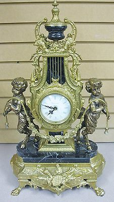 ORNATE BRASS, BRONZE & MARBLE IMPERIAL ITALIAN MANTLE CLOCK Free Shipping