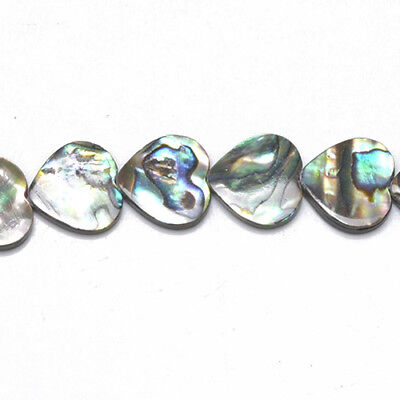 Pack Of 4 x Rainbow Abalone Paua Shell 16mm Flat Heart Beads GS1338