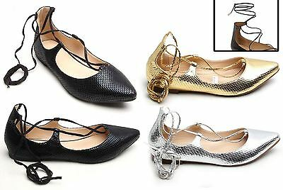 Womens Ladies Lace Up Dolly Ballerina Shoes Pointy Flat Snake Suede Pumps Strap