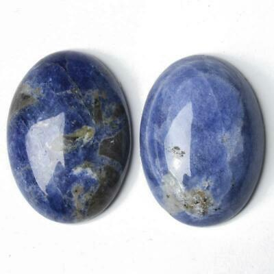 1 x Blue Sodalite Flat Back 30 x 40mm Oval 7.5mm Thick Cabochon CA16649-8
