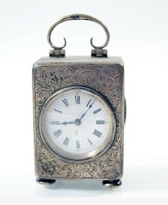 Antique 1907 Henry Matthews Sterling Silver Boudoir Clock French 8 Day Movement