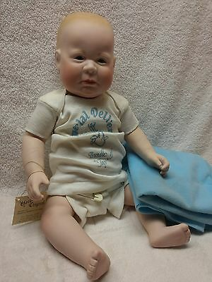 Bundle of Joey Baby Boy Anatomically Porecelain Doll by Barbara Peterson Comley
