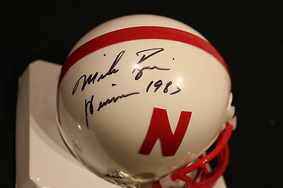 Mike Rozier SIGNED Nebraska Mini Helmet + Heisman 1983