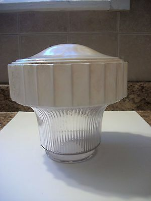 Vintage Acoron Art Deco Ribbed Cream Clear Glass Ceiling Globe