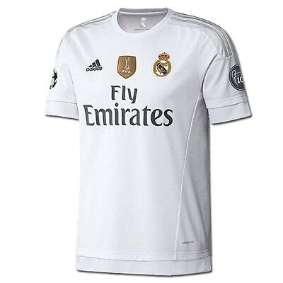 adidas Youth Real Madrid 15/16 Champions Home Jersey White/Clear Grey  AK2498