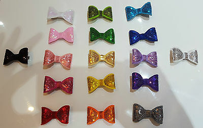 Handmade Sequins Ribbon Boutique Bow Hair Clip Pin Alligator Baby/girl/toddler