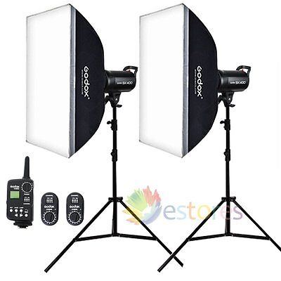 2Pcs Godox SK400 400W Photography Studio Strobe Flash Head & Trigger & Softbox
