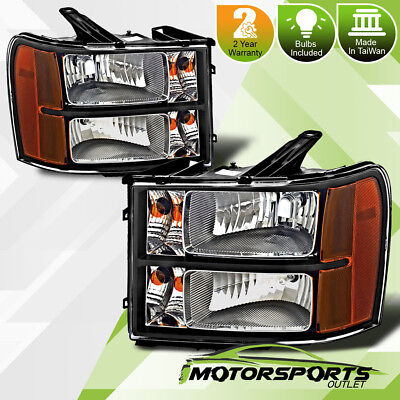 2007-2013 GMC Sierra 1500 2500 3500 Factory Style Black Headlights Pair