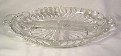 Vintage Fostoria Colony Crystal 2 Handled 3 Part Divided Relish Serving Bowl #2