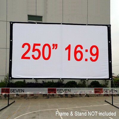 """250"""" 16:9 White Projection Screen Curtains Film Canvas Fabric for HD Projectors"""