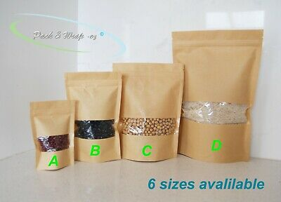 Stand-Up Zip Lock WINDOW Kraft Paper Bags resealable reseal food packaging