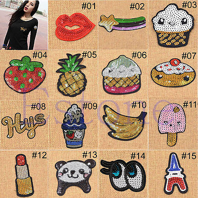 Pattern Sequins Embroidered Iron On Patch Badge Applique Motif Crafts Gifts New