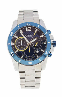 Sekonda Mens Stainless Steel Silver & Blue Chronograph Analogue Watch - 3484