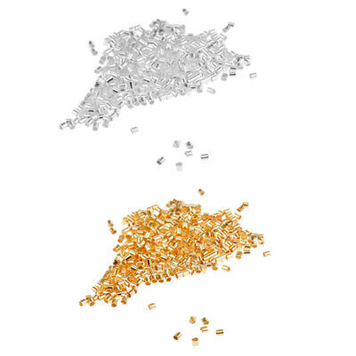 600pcs Silver/Gold Cord Tube Crimp End Beads Spacer For Jewellery Craft 1.5/2mm