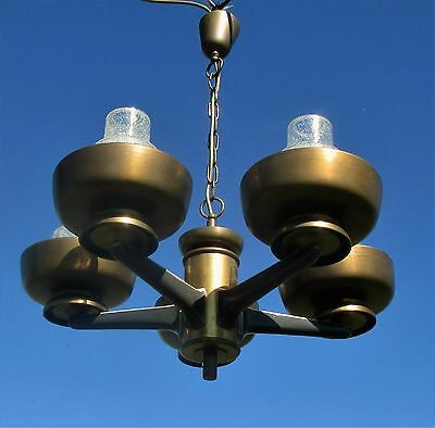 Architectural Modernist Art Deco Chandelier 5 Lights Frosted Shades