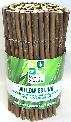 Roots & Shoots Willow Wood Garden Edging 100cm x 20cm Lawn Border Edging Roll