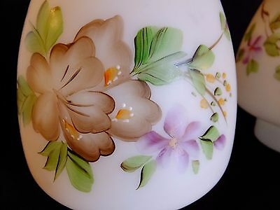 """Scalloped Top MILK GLASS CHIMNEY  3"""" Fitter  Hand Painted Flowers"""