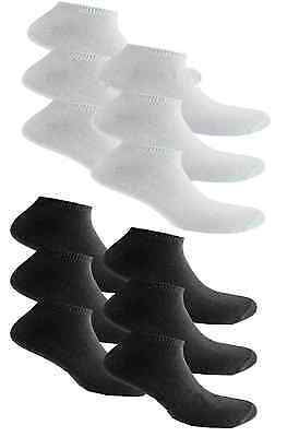 Mens Womens Trainer Ankle Socks Cotton Rich Sport Black White 3,6,12 Pairs